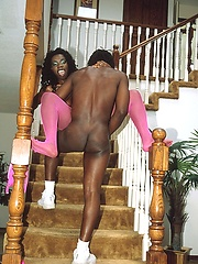 African hottie getting nailed on the stairs