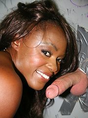 Black slut sucks & fucks white dick at gloryhole