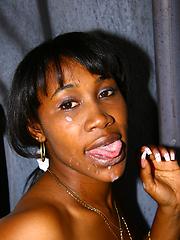 Black MILF gloryhole blowjob cumeating facial