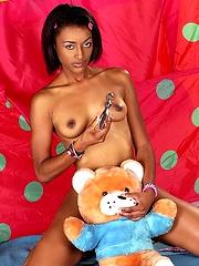 Metallic sex toy for pretty ebony girl