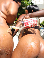 Two big booty black whores get fucked hard!