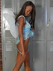 Beautiful black girl stripping on her butterfly oufit until she gets fully nude