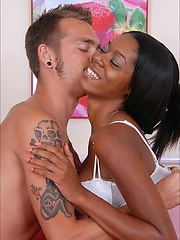 Silky shine black girl stripped-off at the stair and spread her legs naughtily wide