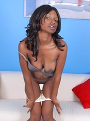 Horny petite black teen girl get wild and shows her unshaved coffee-color pussy
