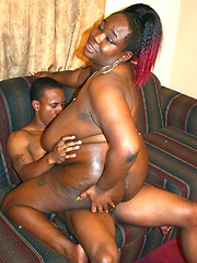 Big tits and a juicy black ass gets this black BBW some dick