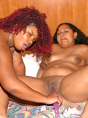 Chunky black lesbians lick each others wet BBW snatches
