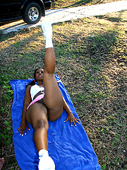 Morning stretching with black chick Cherokee
