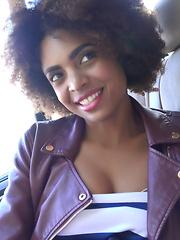 Ebony cutie seduces a white stud in a hard sex outdoors