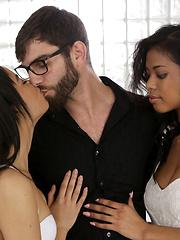 Latina babe Maya Bijou and black beauty Nia Nacci double team their man with a double blowjob and hardcore threesome