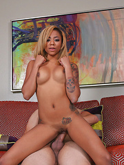 Ebony, cute, petite Diamond Monrow saw her dad's friend was a porn director so why not go to to the direct source to get to the top. She seduced her dad's friend sucking his cock, letting him pound her tight pussy, and cum all over her small fac