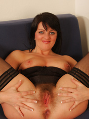 Hot European slut shows off untrimmed bush and rides cock!