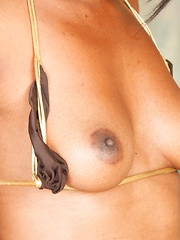 Nina Devon shows her hairy pussy at the pool